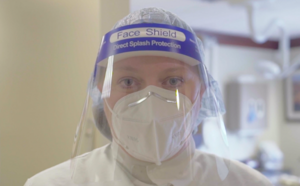 patient safety proper PPE face shield and N95 masks